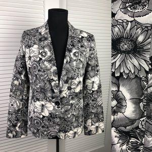 Floral Black & White Worthington Sz Small Blazer